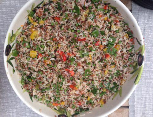 Rijstsalade met munt en peterselie