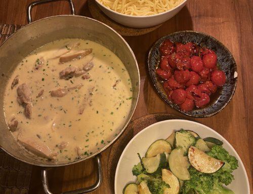 Romige kip met knoflook en parmezaanse kaas