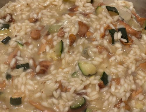 Risotto met cantharellen en courgette
