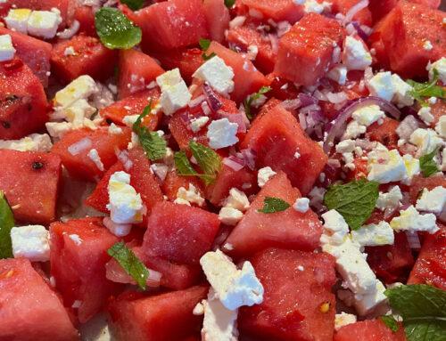 Salade Watermeloen, feta, munt, rode ui en chili